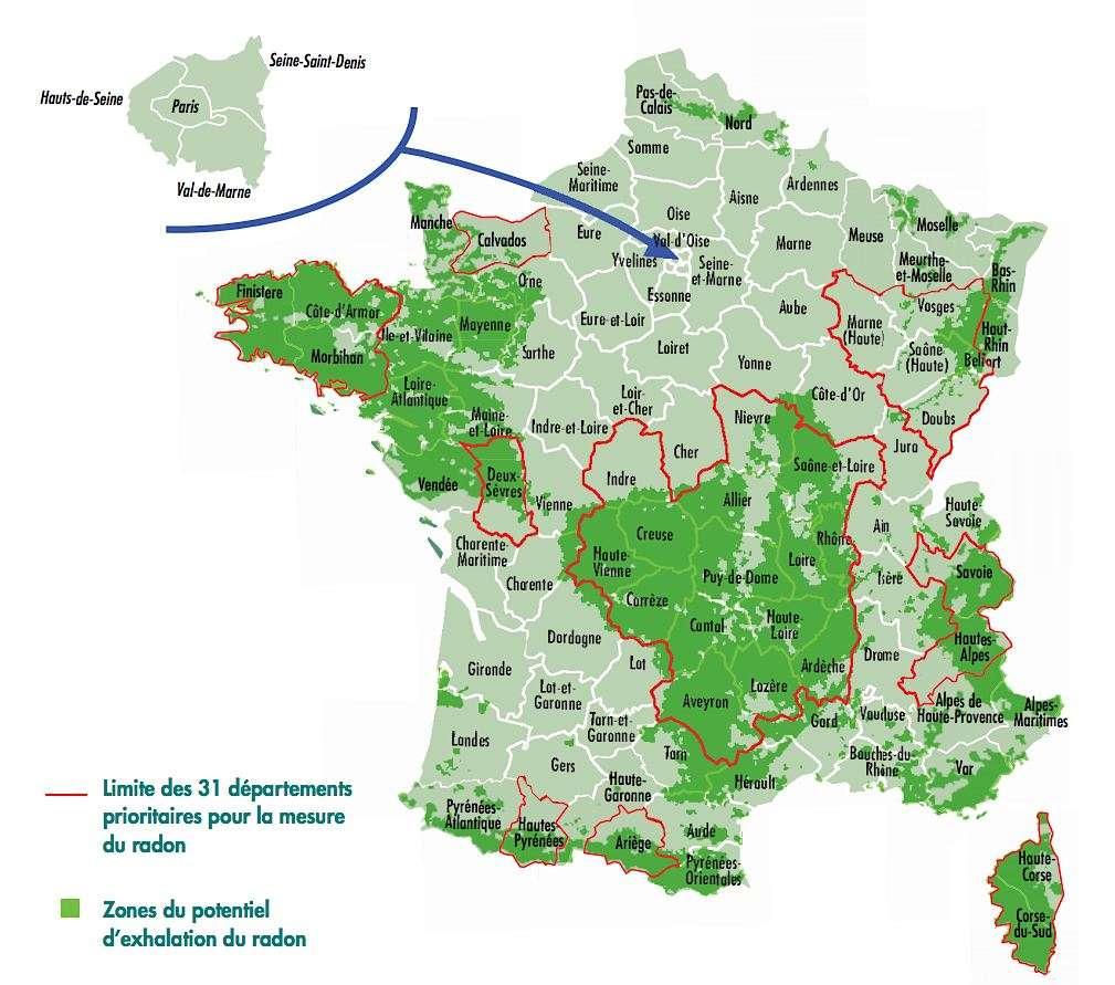 Carte du radon. Nouvelle cartographie délimitant les zones à plus fort potentiel d'exhalation (de dégagement) du radon, publiée fin 2013 par l'IRSN. Une carte affinée commune par commune est également consultable sur le site internet de cet organisme. © IRSN