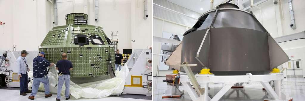 Afin de s'assurer que les outils développés et les procédures mises en place pour la construction de la capsule Orion sont bien adaptés, la Nasa et Lockheed Martin l'ont réalisée en maquette grandeur nature lors de l'été 2010 (à droite). © Nasa, Kim Shiflett, Troy Cryder