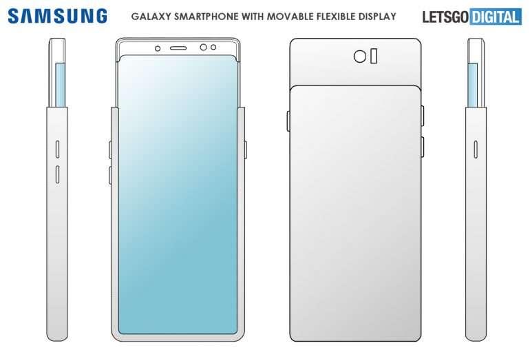 Ce smartphone reprendrait le principe du « slider » avec une partie de la coque qu'on glisse à l'aide du pouce. © LetsGoDigital