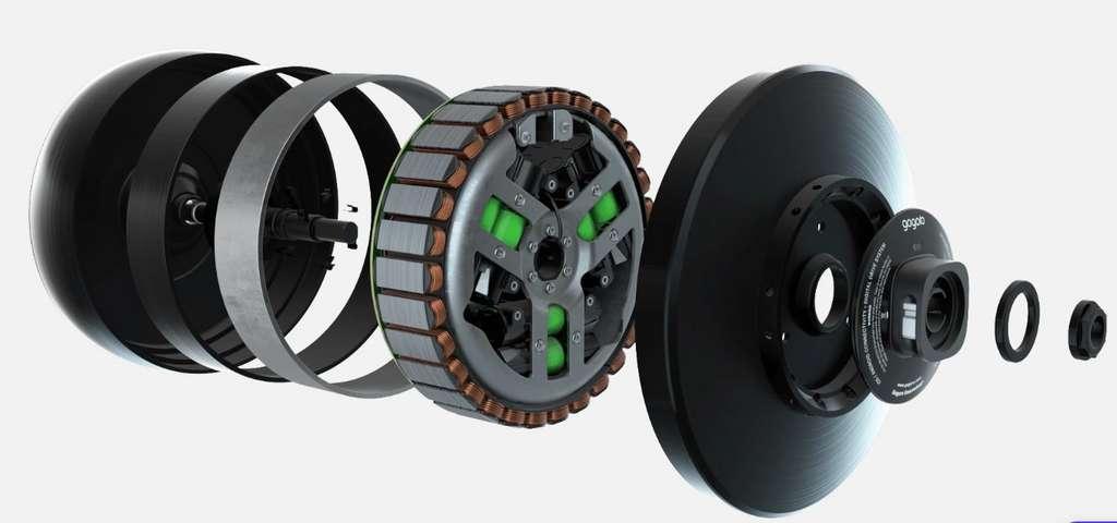 La Smartwheel de l'Eeyo est un joli tour de force technique qui réunit le moteur électrique, la batterie et l'électronique. © Gogoro