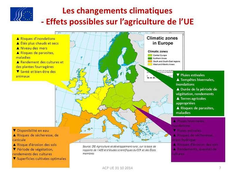 Les effets des changements climatiques sur l'agriculture en Europe. © 2015 Adapt2clima