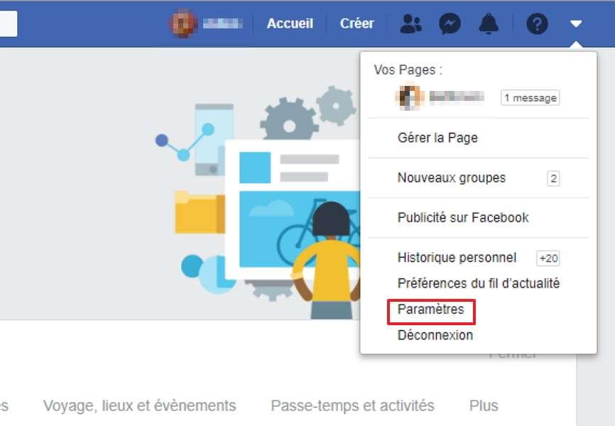 Tous les réglages se font en passant par le menu des paramètres. © Facebook