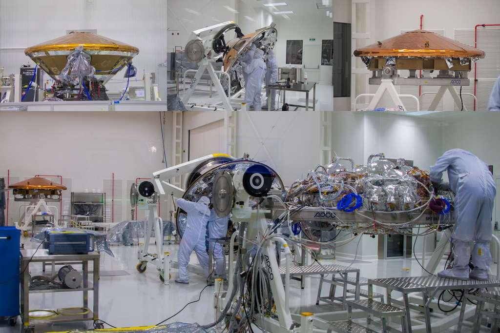 Différentes étapes de la construction de la capsule Schiaparelli. La photographie en haut à gauche la montre entièrement assemblée. © Rémy Decourt