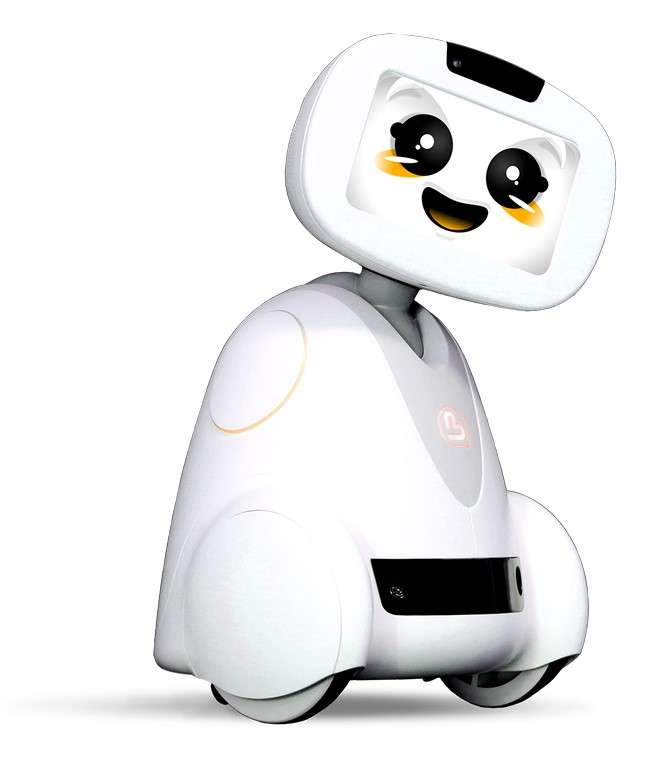 Une autre entreprise a pensé le concept du robot domestique avant Asus. Il s'agit de Buddy, de la jeune pousse française Blue Frog Robotics. Proche de Zenbo dans son aspect, il se distingue par la possibilité de lui ajouter une paire de bras motorisés et par sa plateforme matérielle et logicielle ouverte, basée sur Android et Arduino. © Blue Frog Robotics