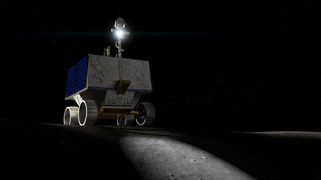 Illustration du rover Viper qui devrait se poser au pôle sud de la Lune en décembre 2022. © Nasa Ames