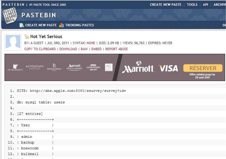 Le fichier publié sur Pastebin. Il montre des identifiants puis des mots de passe et viendrait du site abs.apple.com, le site d'Apple Business Intelligence. © Pastebin