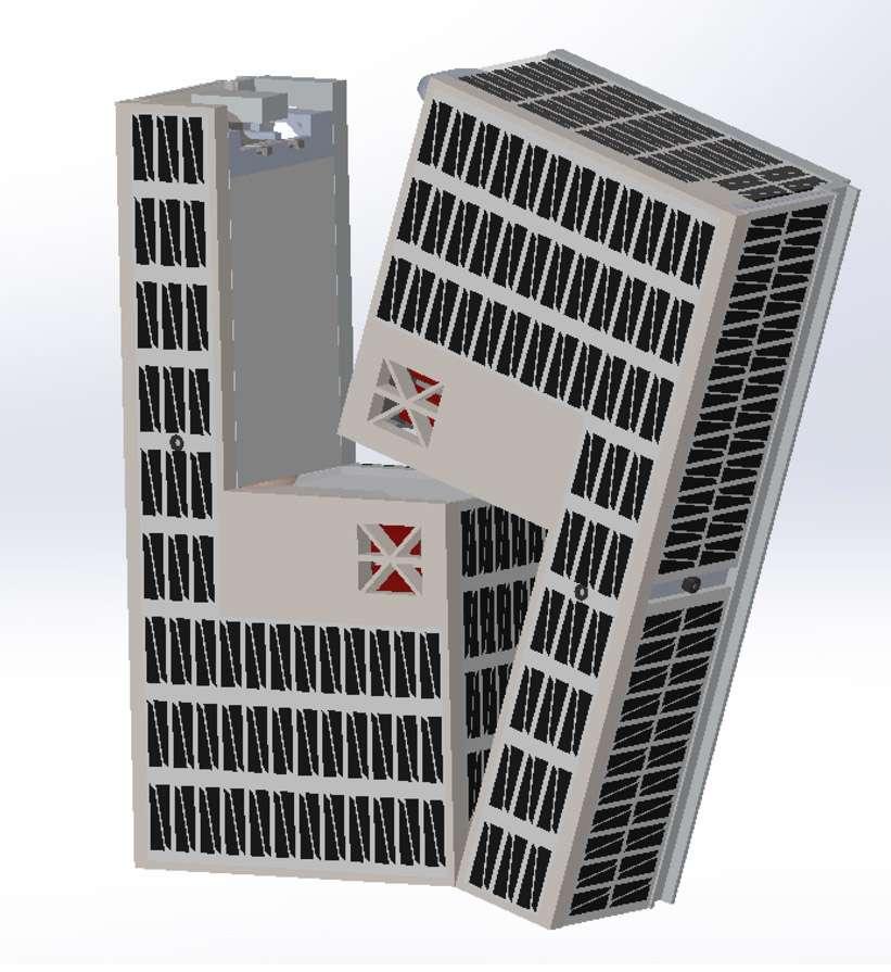Les deux CubeSat en forme de L du projet Water-Propelled Cubesat to Orbit Moon. © Cislunar Explorers