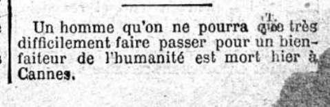 Un extrait du Figaro du 15 avril 1888, évoquant Alfred Nobel en termes peu élogieux © Le Figaro