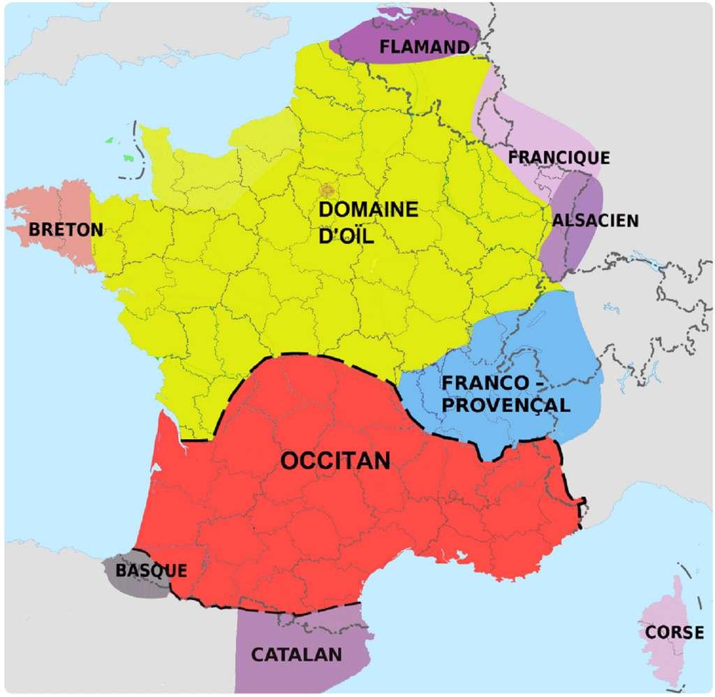 Carte des langues parlées en France métropolitaine en 2020 ; université de Montpellier 3 et université ouverte des humanités. © univ-montp3.fr et uoh.fr