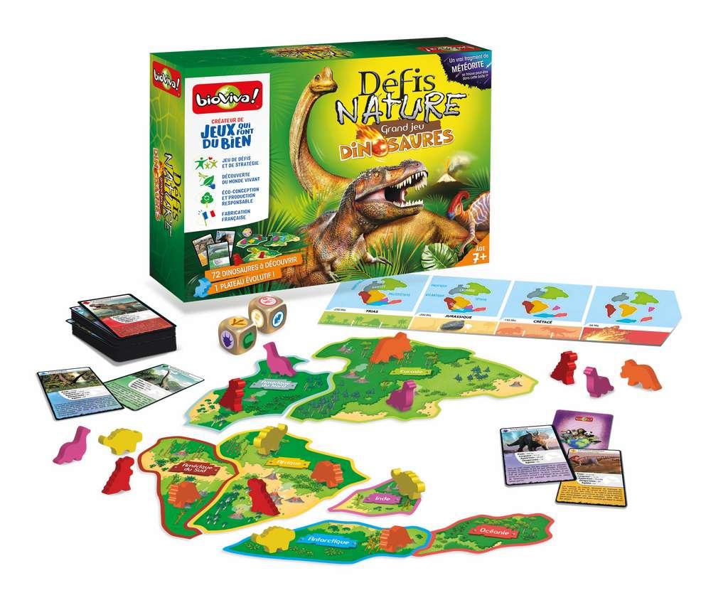 Le «Grand jeu Dinosaures» fait partie de la collection «Défis Nature», version plateau, écoconçu et fabriqué en France. © Bioviva