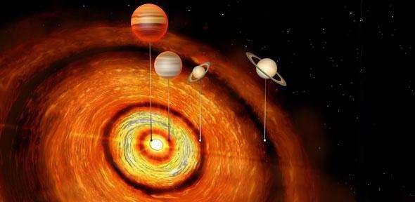 À quelque 500 années-lumière de notre Soleil, CI Tau abrite quatre planètes géantes. La plus proche de son étoile (dont la masse s'approche de celle de Jupiter comme la suivante) se situe sur une orbite équivalente à celle de Mercure et la plus éloignée (dont la masse est plus proche de celle de Saturne, comme la précédente) se trouve à une distance plus de trois fois supérieure à celle qui existe entre le Soleil et Neptune. © Université de Cambridge