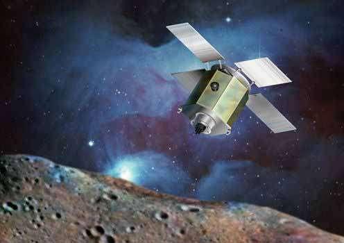 Dessin de la sonde Near Shoemaker en orbite autour d'Éros. © DR