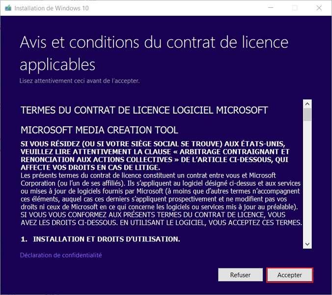 Choisissez l'option Accepter. © Microsoft