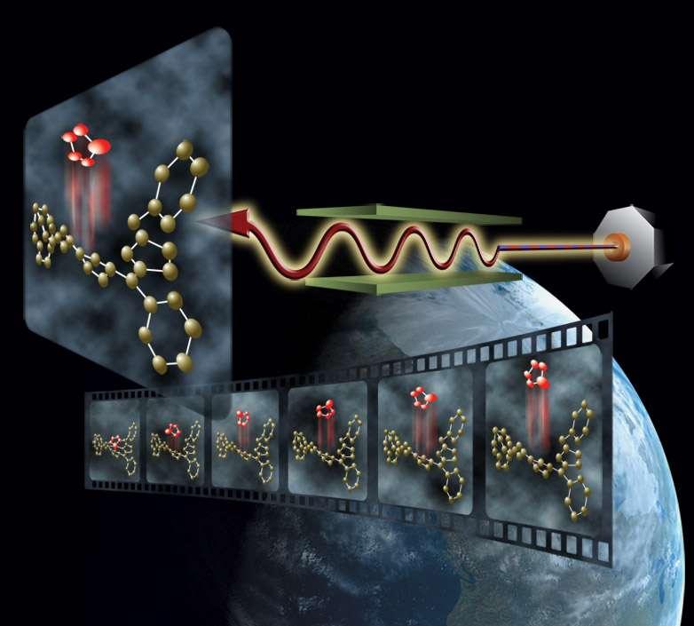 Avec les impulsions laser X ultra-brèves du LCLS, il devient possible de réaliser une véritable caméra moléculaire montrant les différentes étapes d'une réaction chimique avec des molécules organiques comme l'illustre ce dessin d'artiste. Crédit : Stanford University