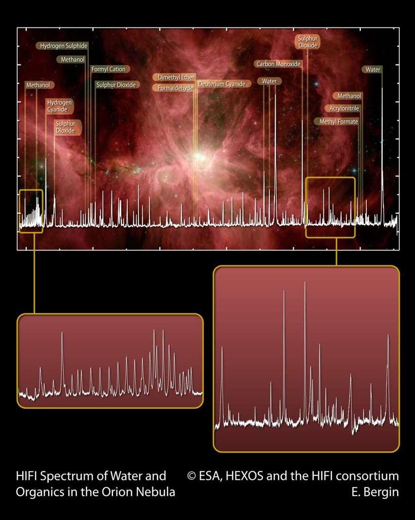 Un large éventail de matière organique a été identifié au sein de la nébuleuse d'Orion – fameuse région de formation d'étoiles à environ 1.400 années-lumière de la Terre – sondée par les télescopes spatiaux Herschel et Spitzer : formaldéhyde, méthanol, diméthyle éther, cyanure d'hydrogène, oxyde de soufre, dioxyde de soufre, eau. Ces molécules peuvent être à l'origine d'une chimie menant à des composés plus complexes, comme les alcools, les sucres ou les acides aminés. © Esa, Hexos, HIFI Consortium