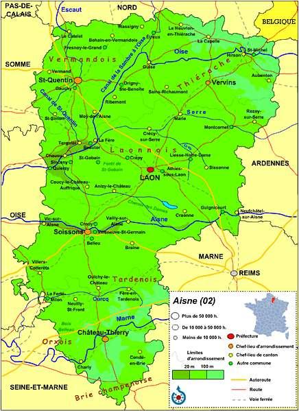 Parmi les grandes villes de l'Aisne, on trouve Château-Thierry, Laon, Saint-Quentin ou encore Soissons. © Manchot sanguinaire, cc by sa 3.0