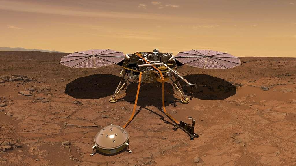 Concept art de la sonde InSight, dont les opérations de forage ont débuté en 2018. © ESA