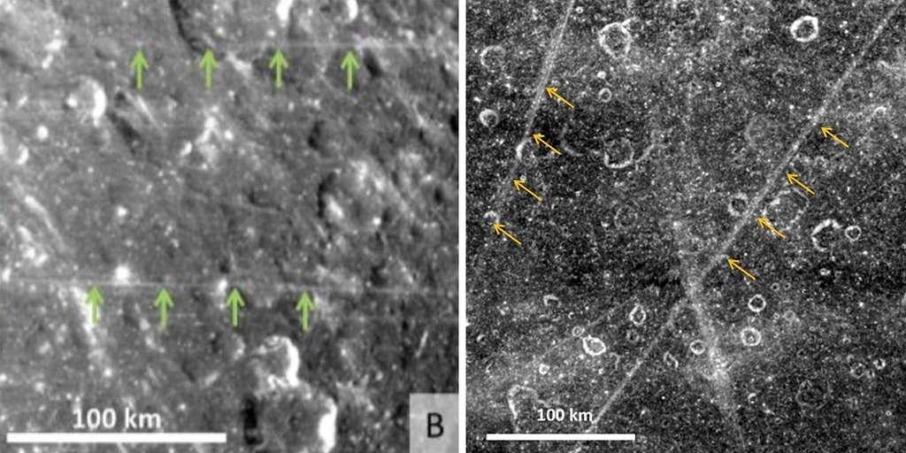 Les longues lignes blanches (linear virgae) découvertes sur les satellites de Saturne : Dioné (image à gauche) et Rhéa (à droite). © Nasa, Emily Martin & Alex Patthoff