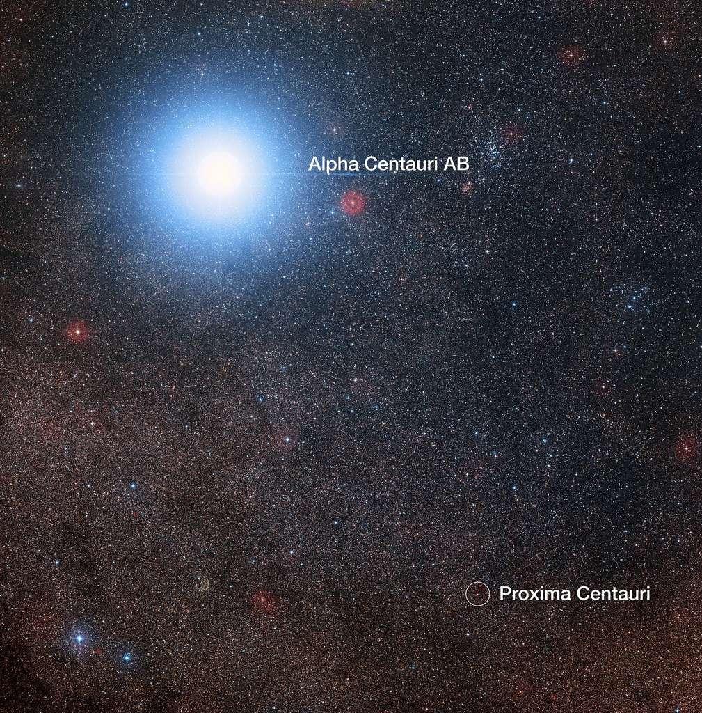 Alpha Centauri A et B sont beaucoup plus brillantes que la naine rouge Proxima Centauri. © DSS2
