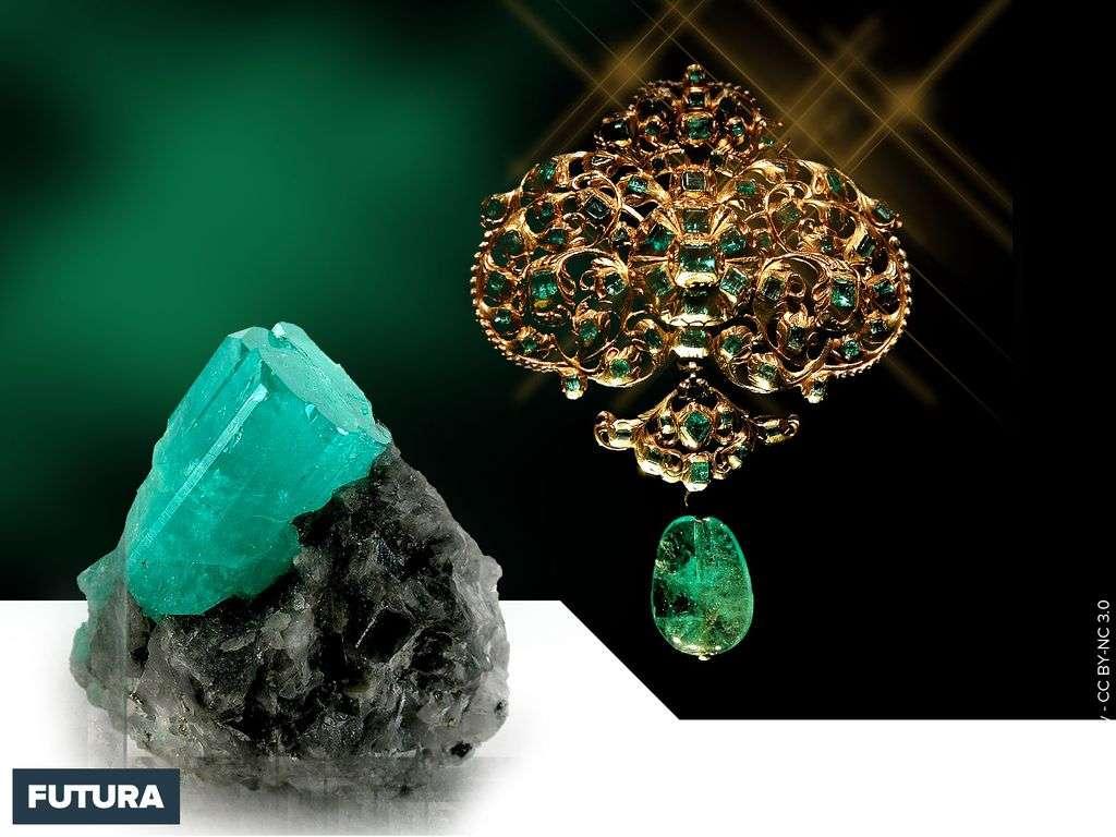 Gemmologie : Émeraude brut et montée en bijou