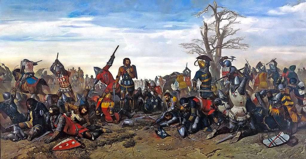 Quelles sont les dates clés de la guerre de Cent Ans ? Ici représentation du combat des Trente (1351). © Octave Penguilly L'Haridon, Wikimedia Commons, DP