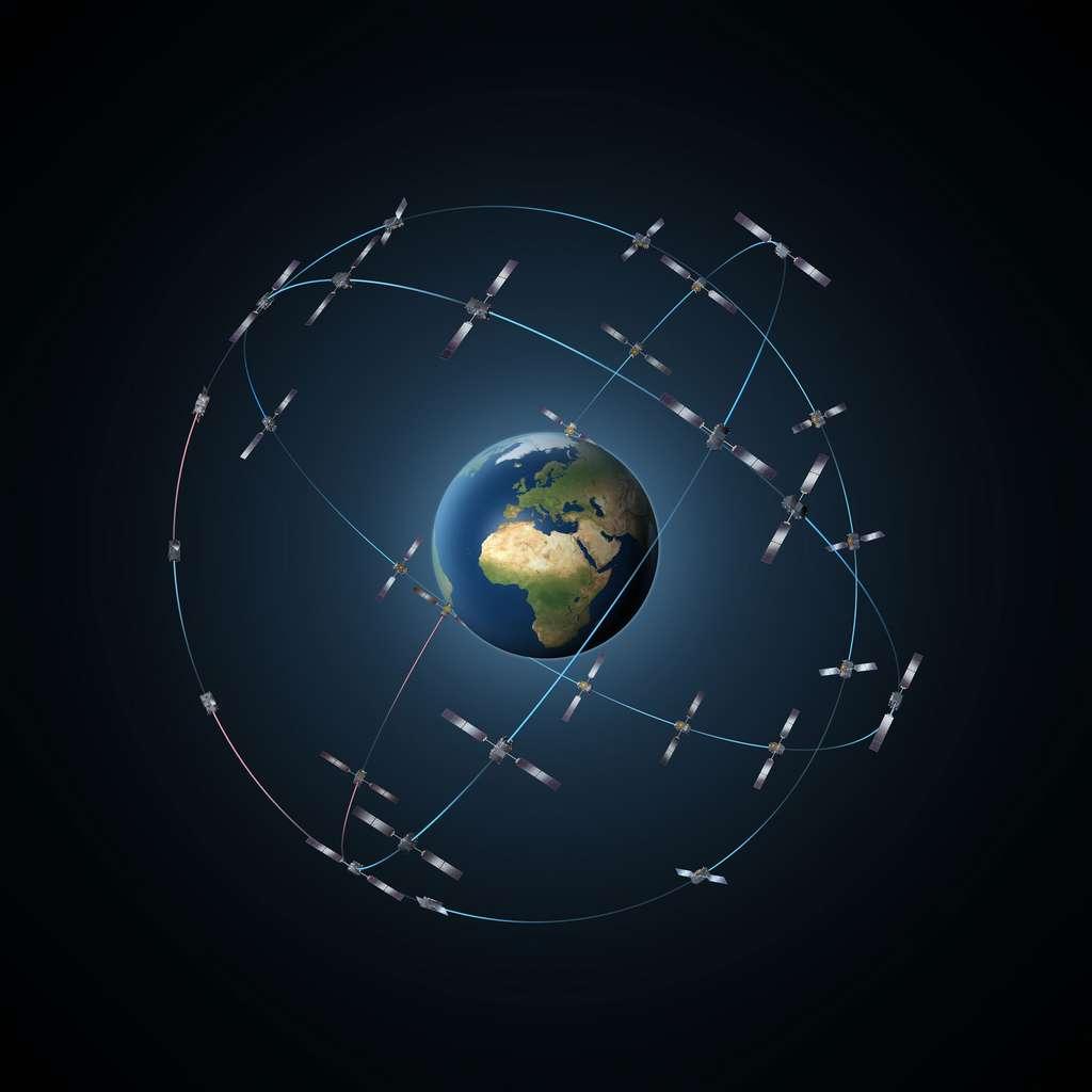 Vue d'artiste qui montre comment seront déployés les 30 satellites Galileo autour de la Terre sur trois plans orbitaux différents. © Esa, P. Carril