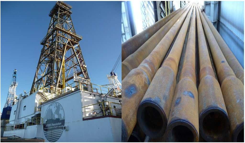 À gauche, le derrick sur le bateau scientifique de forage JOIDES Resolution. Il mesure 45 m de haut, et permet de déplacer 30 m de tiges de forage simultanément. À droite, les tiges de 13 cm de diamètre. Le navire en a embarqué pour un total de 7.500 m. © Jean-Luc Berenguer