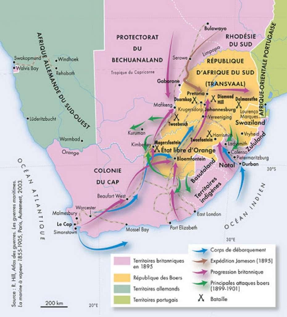 Carte de l'Afrique du Sud durant la guerre des Boers (1899-1902), par Fabrice Le Goff cartographe géographe. © Fabrice Le Goff.