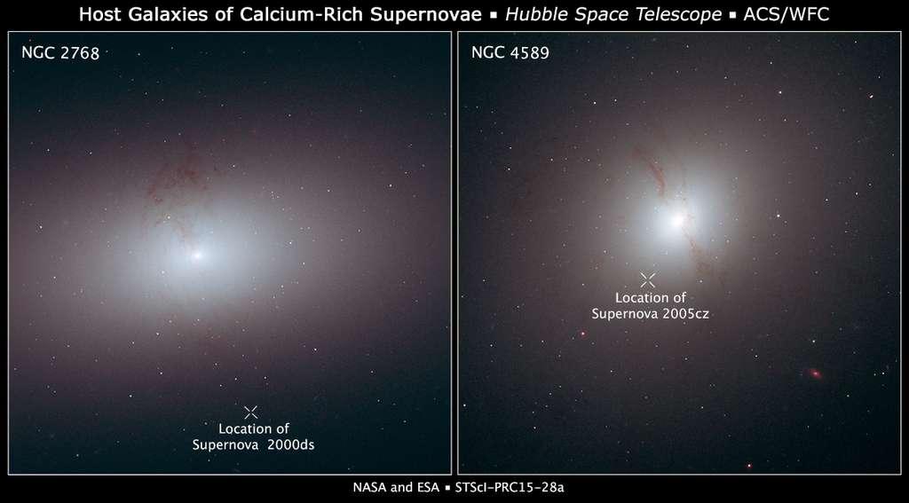 Ces images du télescope spatial Hubble montrent des galaxies elliptiques avec des supernovae riches en calcium. SN 2000D (à gauche) est située à au moins 12.000 années-lumière de sa galaxie, NGC 2768. Quant à SN 2005cz (à droite), elle est à au moins 7.000 années-lumière de sa galaxie, NGC 4589. NGC 2768 se trouve à 75 millions d'années-lumière de la Voie lactée, et NGC 4589 à 108 millions d'années-lumière. © Nasa, Esa, and P. Jeffries and A. Feild (STScI)
