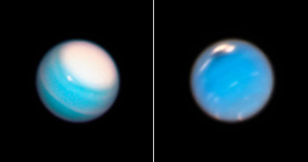 À gauche, une image d'Uranus et, à droite, une image de Neptune, prises toutes deux avec Hubble en 2018. © Nasa, ESA, A. Simon (Nasa Goddard Space Flight Center), and M.H. Wong and A. Hsu (University of California, Berkeley)