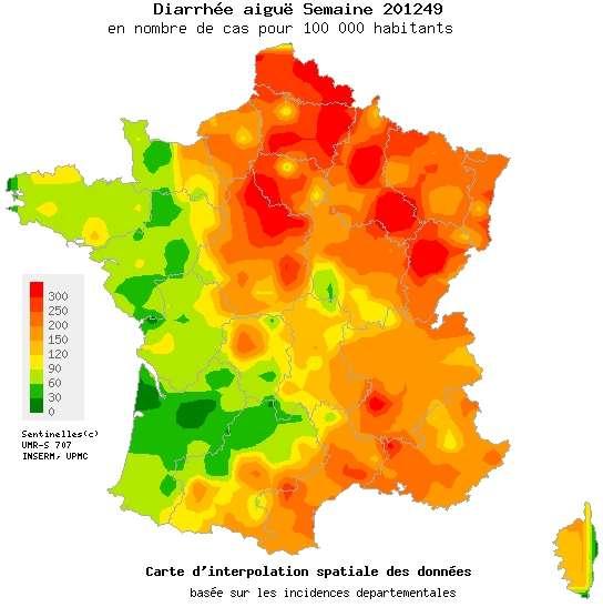 La gastroentérite épargne l'ouest de la France, étant très sporadique au-delà d'une ligne imaginaire entre Caen et Pau. Dans le nord et l'est de la France, en revanche, l'épidémie se fait plus pressante. © réseau Sentinelles