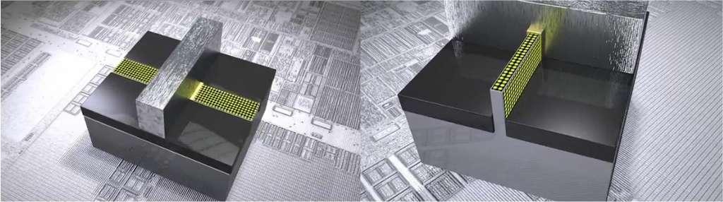 Comparaison - très schématique - entre un transistor classique, à gauche, et un Tri-Gate, droite. Ces images sont extraites d'une vidéo en anglais commentée par l'un des concepteurs, Mark Bohr. On remarque l'épaisseur des conducteurs et les trois surfaces de contact avec la grille (en jaune). © Intel