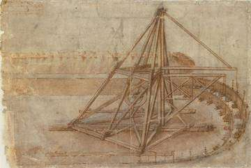 Une machine pour creuser les canaux. © Biblioteca Ambrosiana