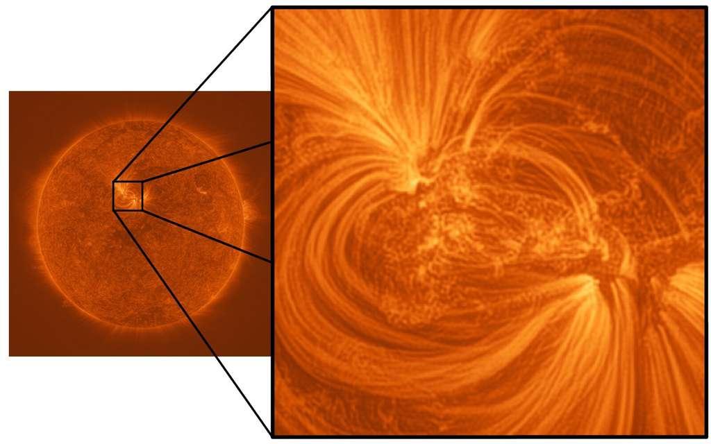 Une boucle coronale constituée de filaments de plasma captée par le High Resolution Coronal Imager (Hi-C). © Université de Central Lancashire