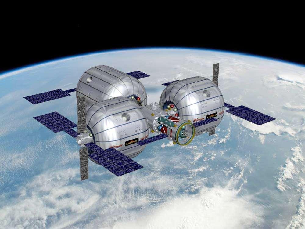 Le projet de station spatiale de Bigelow Aerospace qui serait desservie par des capsules Dragon de SpaceX ou CST-100 de Boeing. © Bigelow Aerospace