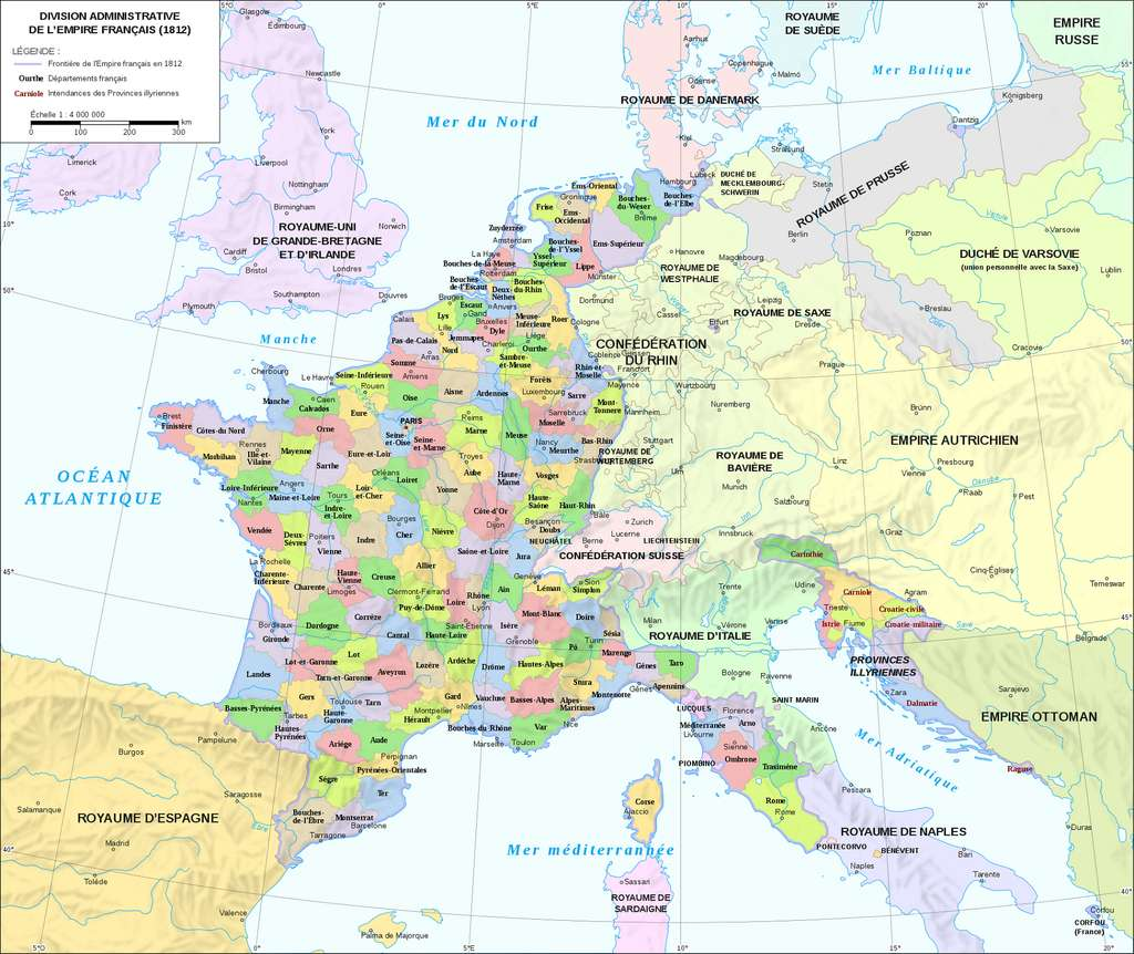 Carte des 130 départements français sous le Premier Empire, en 1812. © Wikimedia Commons, domaine public