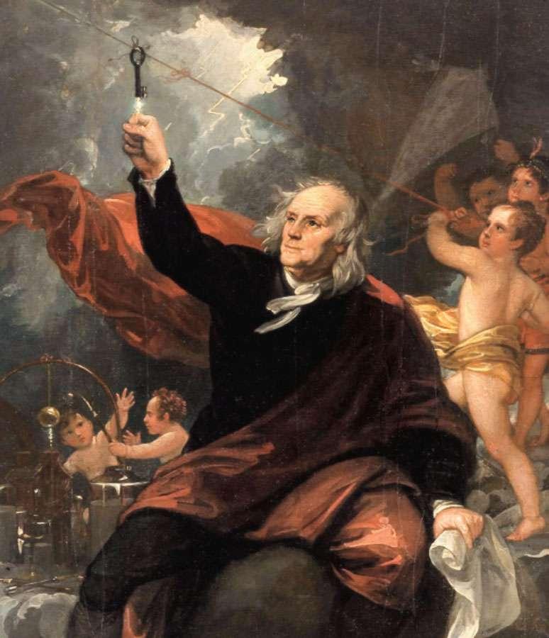 Benjamin Franklin tirant l'électricité du ciel (vers 1816), par le peintre anglo-américain Benjamin West (1738-1820). Le courant électrique semble passer de la clé au flacon qu'il tient à la main. © DP