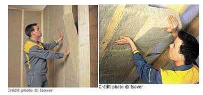 Deux exemples de mise en œuvre de l'isolation en chanvre. Panneaux de chanvre utilisables sous rampants, en isolation de combles aménagés ou de cloisons à ossature bois. © Isover