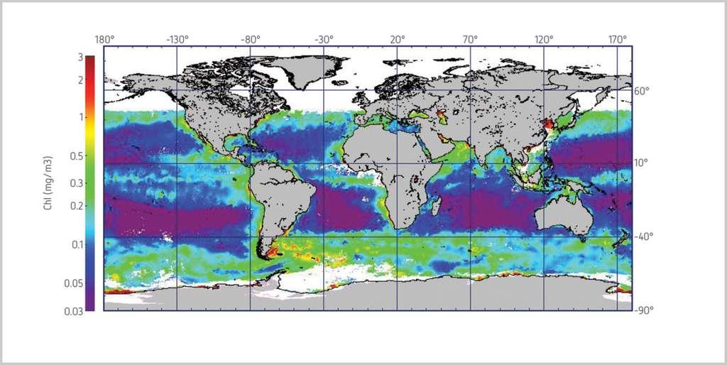 Carte globale de la concentration en chlorophylle dans les océans, obtenue à partir de données fournies par l'instrument Meris (spectromètre imageur à moyenne résolution) à bord d'Envisat, en décembre 2011. © Esa