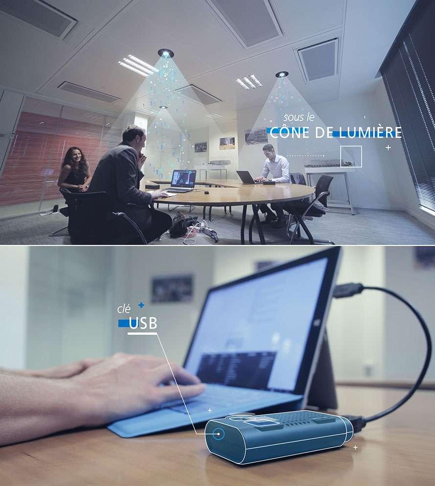 Voici la version commerciale du dispositif Li-Fi de Lucibel. La photo supérieure nous montre le système d'éclairage LED au plafond dont le cône de lumière diffuse le signal haut débit. La photo du bas présente la clé USB Li-Fi qui est en fait un boitier externe encore assez volumineux et sert à recevoir les données. Lucibel fait de la miniaturisation de cet accessoire et son intégration dans les terminaux une priorité pour s'attaquer au marché des particuliers. © Lucibel