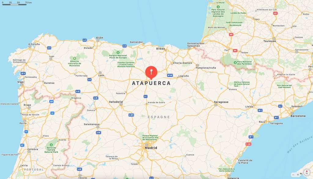 Le site de Sima de los Huesos est le principal gisement de fossiles humains en Europe. Les hominidés de la cavité sont datés entre -400.000 et -500.000 ans, période de l'apparition de Néandertal. © Apple Plans