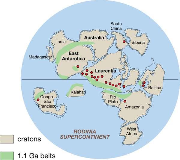 La Rodinia est un paléocontinent. Cette reconstruction propose une vision datant de -750 millions d'années, où des ceintures orogéniques de 1,1 milliard d'années sont mises en évidence. © John Goodge, Wikimedia Commons