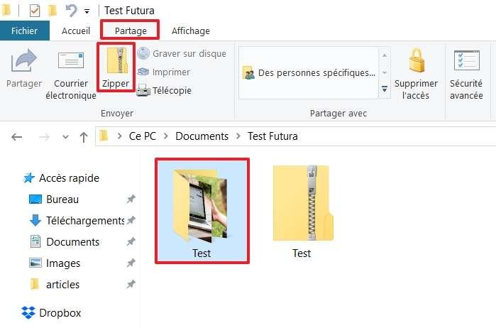 Allez dans l'onglet « Partage » et cliquez sur le bouton « Zipper » après avoir sélectionné votre ou vos fichiers. © Microsoft