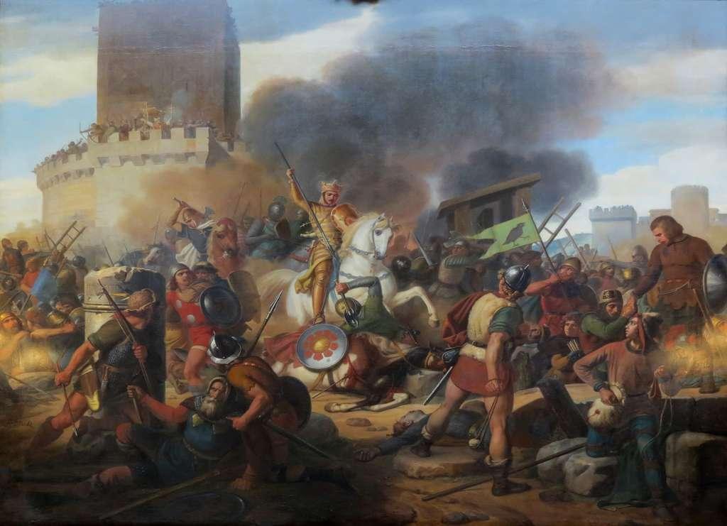 """Tableau : """"Le comte Eudes défend Paris contre les Normands"""", entre 883 et 885 ; par Jean Victor Schnetz en 1837. Château de Versailles. © Wikimedia Commons, domaine public."""