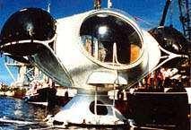 Galathée, mise à l'eau en 1977, est la première expérience d'installation durable dans la mer. D'autres réalisations suivront, comme l'Hippocampe, en 1982. Jacques Rougerie et Henri-Germain Delauze (fondateur de la Comex) y passeront Noël. © Jacques Rougerie