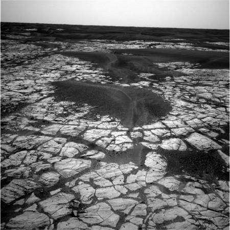 Des polygones de dessication dans un sol riche en sulfate sont évidents sur cette image prise par Opportunity dans la région de Meridiani Planum. © Nasa