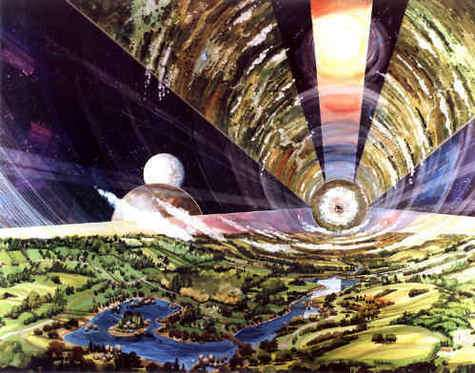 Colonie spatiale de Gerard O'Neill, vue intérieur. Painting by Rick Guidice courtesy of NASA