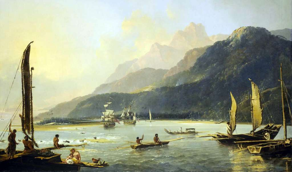 Deux navires de James Cook (Le Resolution et l'Adventure) dans la baie de Matavai, Tahiti (deuxième voyage), par William Hodges en 1776. National maritime museum, Greenwich, Londres. © Wikimedia Commons, domaine public.