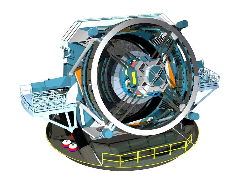 La conception inédite du grand télescope LSST repose sur trois miroirs. Le miroir secondaire, de 3,4 mètres, est le plus grand miroir convexe jamais construit. © LSST Science Team