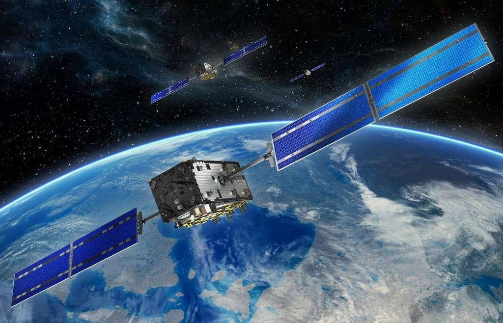 Vue d'artiste des satellites Galileo. © ESA